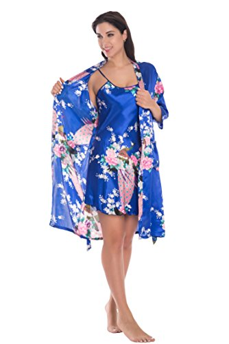 Joy Bridalc Women's Kimono Robe Gorgeous Loungewear 2PC Set Sleepwear Camisole & Robe, RoyalBlue M ()