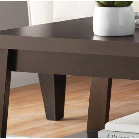 Storage shelf Coffee Table in Espresso Walnut