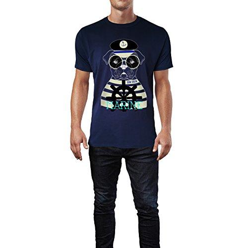 SINUS ART® Seemanns Bulldogge mit Brille Herren T-Shirts in Navy Blau Fun Shirt mit tollen Aufdruck