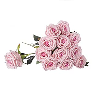 "Royal Imports Artificial Silk Roses Velvet 30"" Long Stemmed, 1 Dozen Flowers for Bouquets, Mother's Day, Weddings or Gift - Pink 105"