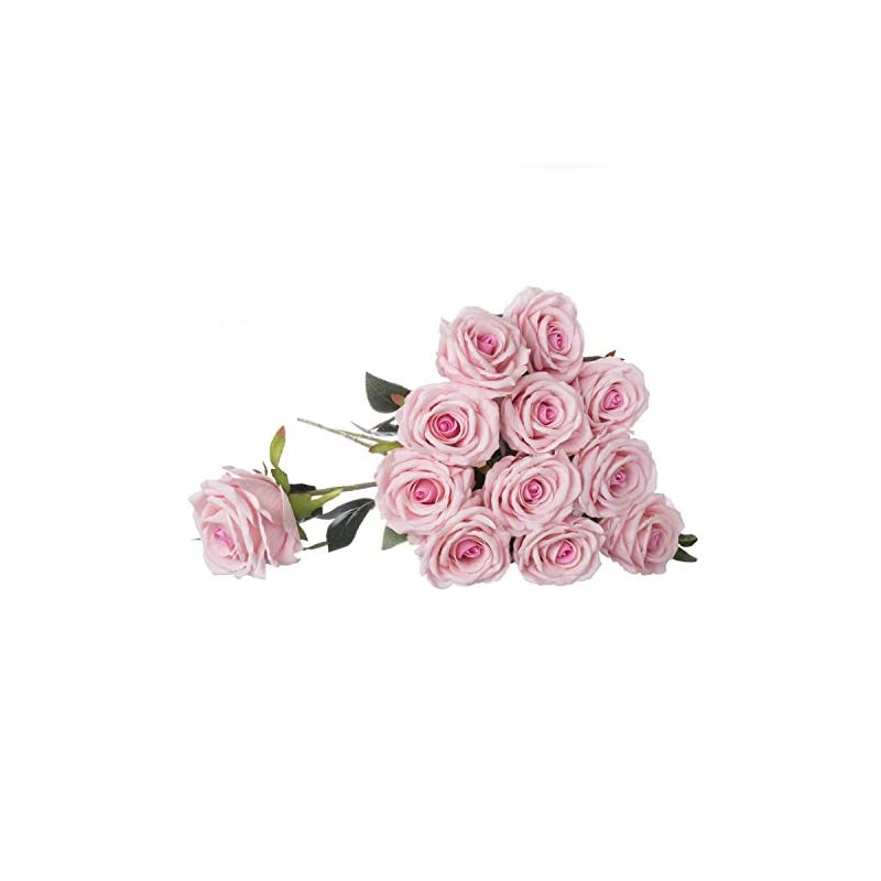 "silk flower arrangements royal imports romantic artificial silk roses velvet 30"" long stemmed, 1 dozen flowers for bouquets, mother's day, weddings or gift - pink"