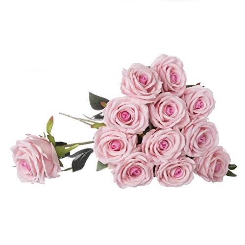 "Royal Imports Artificial Silk Roses Velvet 30"" Long Stemmed, 1 Dozen Flowers for Bouquets, Mother's Day, Weddings or Gift - Pink"