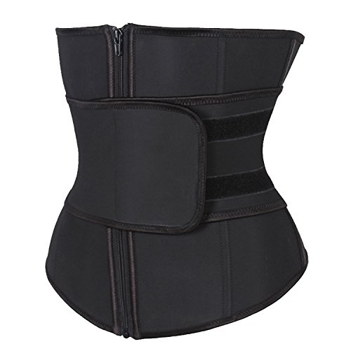 - KIWI RATA Abdominal Belt High Compression Zipper Neoprene Waist Trainer Cincher Corset Body Fajas Sweat, Black (3XL)