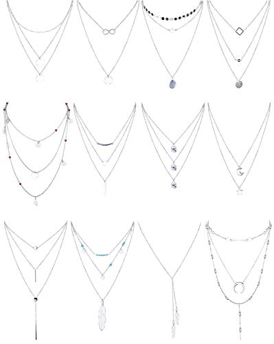 (Finrezio 12 PCS Silver Plated Layered Necklace for Women Girls Sexy Long Choker Chain Y Necklace Bar Feather Pendent Necklace Sets)