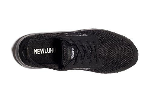 Newluhu Mens Andas Sneakers Mesh Mjuk Sula Casual Utomhus Lätta Sport Löparskor Svart