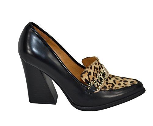 Cuero Nero fibia Cambell Leopardo Jeffrey para Vestir Negro Zapatos de de Mujer PXWxWRwTzq