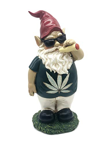 FICITI Weed Smoking Gnome, Funny Garden Gnome, Stoner Lawn Gnome, Hilarious Gnome – 10 Inches