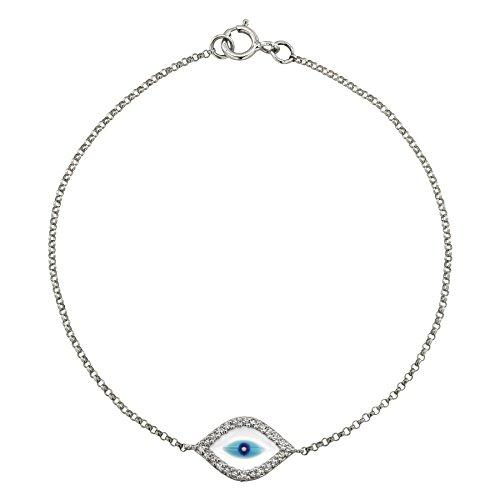 14k White Gold Diamond and Enamel Evil Eye Bracelet (1/10cttw, JK, I2-I3)