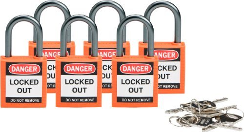 (Brady Compact Safety Locks - Orange, Keyed Different (6 Locks) - 118928)