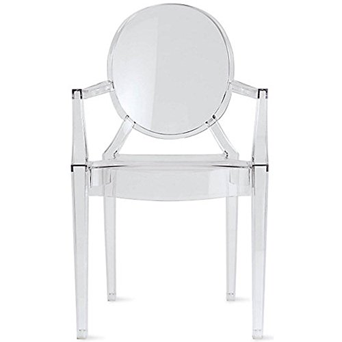2xhome - Clear - Louis Style Ghost Armchair Dining Room Chair - Lounge Arm Arms Armed Chairs Armchairs Accent Seat Higher Fine Modern Mid Century Designer Artistic Classic Sturdy - Louis Ghost Arm Chair