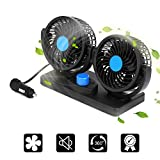 imoocare Car Fan 12V Electric Cooling Fan - 2 Speed Adjustable Auto Cooling