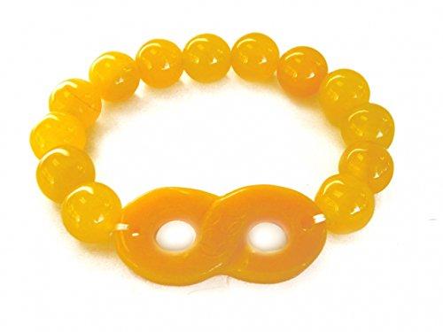 Feng Shui Import Orange Color Jade Beaded Bracelet with Infinity Symbol
