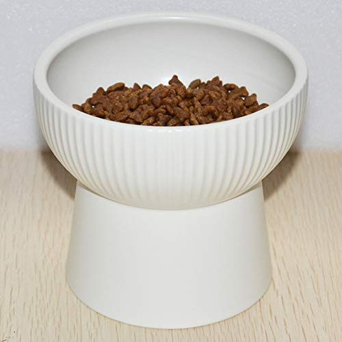 Lorde Raised Cat Bowls, Elevated Cat Food Bowls Water Bowl with Stand Ceramic Cat Feeding Bowls Whisker Fatigue Stress Free Pet Food & Water -