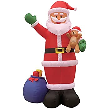 12 Foot Christmas Inflatable Santa Claus With Gift Bag And Bear Yard Garden Decoration