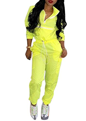 Women's Sexy 2 Piece Outfits Long Sleeve Stripe Reflective Jacket Pants Tracksuit Set (Yellow,L) -