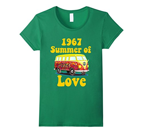 60s Shirt (Womens 1967 Summer of Love Retro Tees Vintage Sixties Hippie Shirt Medium Kelly Green)