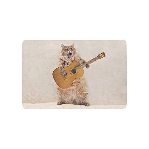 """InterestPrint Funny Rock Cat Play Guitar Doormat Non-Slip Indoor and Outdoor Door Mat Rug Home Decor, Entrance Rug Floor Mats Rubber Backing, 23.6""""(L) x 15.7""""(W)"""