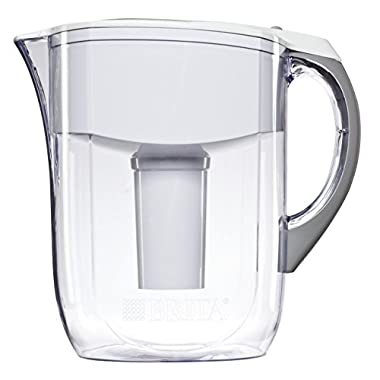 Brita 10 Cup Grand Water Pitcher with 1 Filter, BPA Free, White