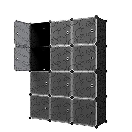 KOUSI Portable Storage Cube Cube Organizer Cube Storage Shelves Cube Shelf Room Organizer Clothes Storage Cubby Shelving Bookshelf Toy Organizer Cabinet, Black, 12 Cubes (2 Door Stacking Bookcase)