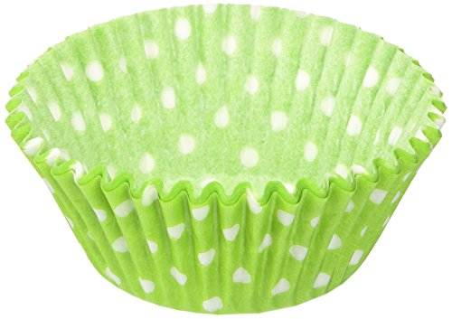 Jubilee Sweet Arts 50 Count Baking Cups, Standard, Lime Green Polka Dot -