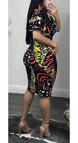 au Clubwear Modo 1 Sodossny Bodycon Donne Manica Sexy Midi Increspa Breve Abito Delle OSn8nw1