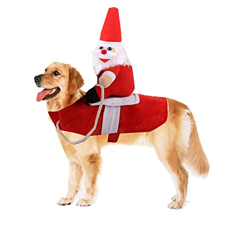 Yu-Xiang Dog Santa Claus Riding Costume Pet Supplies Cowboy Rider Horse Riding Designed Dog Apparel Party Dressing up…