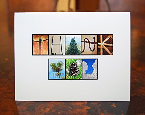 Rustic Mountain Thank You Note Cards Alphabet Photo Letter Name Art, Boxed, Blank Inside