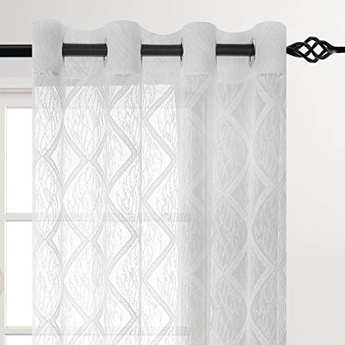 DWCN Geometric Lace Sheer Curtains White Voile Sheer Curtain Panels for Bedroom Grommet Window Curtains, 52 X 84 inches Long Set of 2