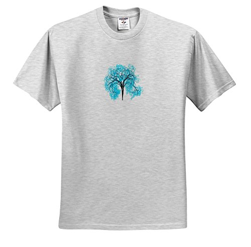 Price comparison product image 3dRose Pop Tree Designs - Image Of Turquoise Tree Stands Alone - T-Shirts - Youth Birch-Gray-T-Shirt Small(6-8) (TS_279887_28)