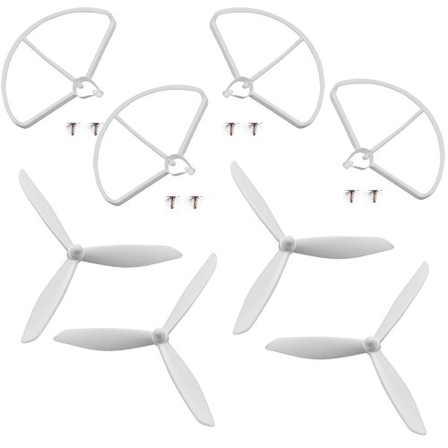 4pcs Upgraded Threeleaf Propeller Props (2CW 2CCW) & 4pcs Prop Guards Parts For Hubsan H501S H501C X4 RC Quadcopter Drone (White) by Pusi