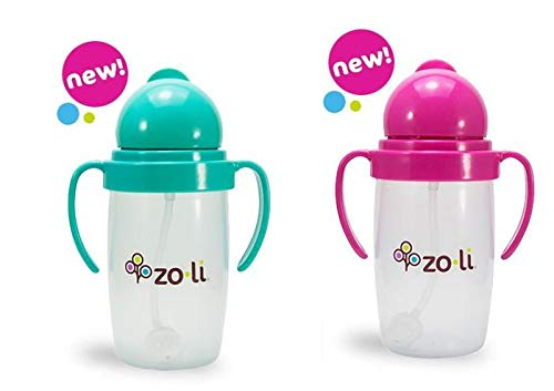 Zoli BOT 2.0 10 oz Straw Sippy Cup - 2pack (Mint/Pink)