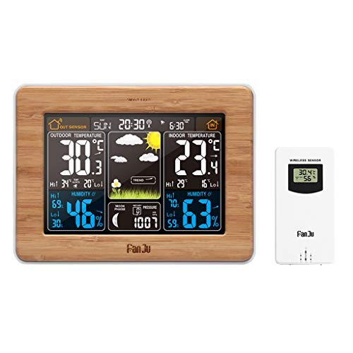 Fan-Ling Color Screen Weather Forecast Clock, Colorful Digital Weather Station Weather Forecast LCD Display Alarm Clock,Plastic Material Multifunctional kit, Practical (Brown) (Radio Weather Ambient Battery)