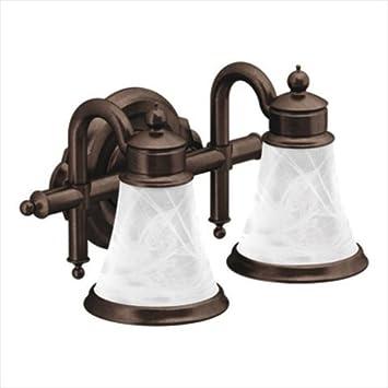 moen yb9862orb waterhill two globe bath light oil rubbed bronze - Oil Rubbed Bronze Bathroom Lighting