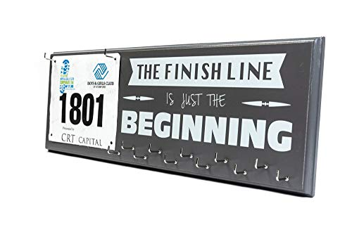(Marathon Medal Holder and Race Bib Hanger - The Finish Line Is Just The Beginning)