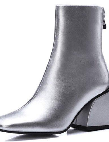 XZZ/ Damen-Stiefel-Outddor / Kleid-Nappaleder-Blockabsatz-Armeestiefel / Quadratische Zehe-Schwarz / Silber black-us8 / eu39 / uk6 / cn39