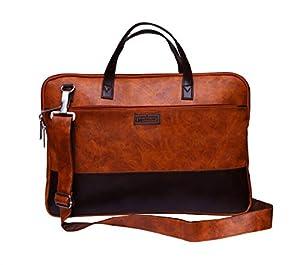 USARMANI Vegan Leather16 Inch Laptop Messanger Bag for Men Office Bag Travel Bag Laptop Bag Men &Women Brief case (Tan Brown)