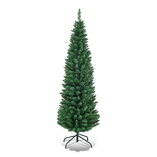 Goplus 6FT Pencil Christmas Tree, 400 Branch Tips, Premium PVC Needles, Artificial Slim Christmas Tree w/Sturdy Metal Stand, Unlit Christmas Tree for Home, Office, Shops, and Hotels (Artificial Pencil Christmas Tree)