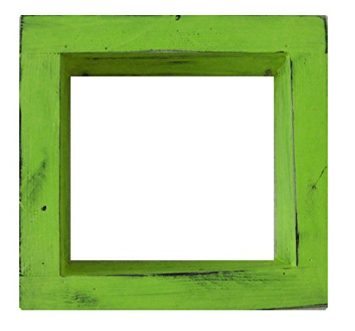 Square Wood / Wooden Shadow Box Display - 12'' x 12'' - Lime Green - Decorative Reclaimed Distressed Vintage Appeal by IGC