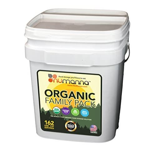 Image of NuManna USDA ORGANIC Family Pack 162 Servings, Emergency Survival Food Storage Kit, Separate Rations, in a Bucket, Meals Included Have 25 Year Shelf Life , GMO-Free (Single)