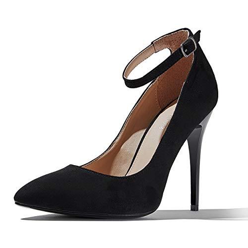 DailyShoes Women's Classic Elegant Stiletto Heels Dress Pumps, Black Suede, 9 B(M) US (Thick Stiletto Heels)