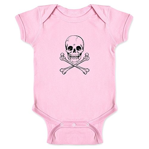 Skull and Cross Bones Pink 6M Infant Bodysuit