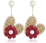 Hand-woven rattan love heart-shaped pearl flower earrings (Red)
