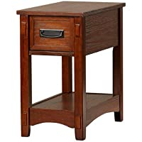 Barrett Wood Rectangle End Table with Drawer and Shelf-Oak