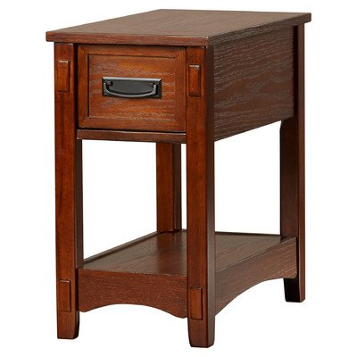 Barrett Wood Rectangle End Table With Drawer And Shelf Oak