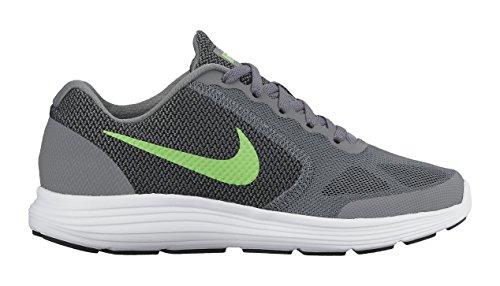 Nike Rivoluzione Tre Ragazzi Giovani Scarpe Da Corsa Jr Grigio / Verde / Bianco / Nero (grigio Freddo / Vltg Verde-bianco-nero)