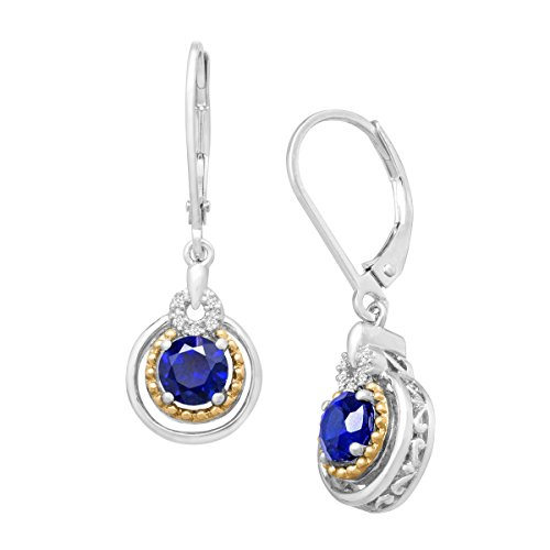(1 1/3 ct Created Sapphire Drop Earrings with Diamonds in Sterling Silver & 14K)