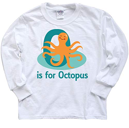 (inktastic - O is for Octopus Youth Long Sleeve T-Shirt Youth Large White 23912)