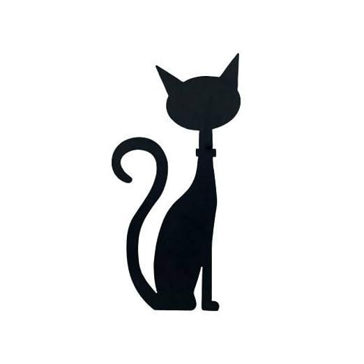 CAPRILO Adorno Pared Decorativo de Metal Gato Negro Mira Izquierda ...