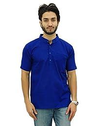 Atasi Mandarin Collar Men's Short Kurta Cotton Slub Shirt