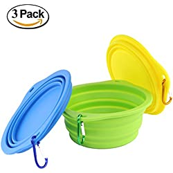 wangstar Large Collapsible Dog Bowl for Dog Food, Food Grade Silicone Bpa Free Bowls, Foldable Pet Feeder Cup Dish Travel Bowl Portable Dog Water Bowl with Free Carabiners, 3 Piece, 7.2 Inch